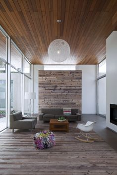 high wood ceilings in mid century modern home
