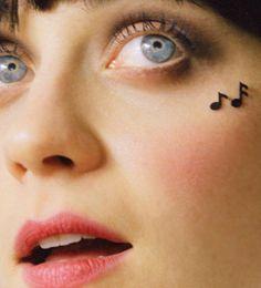 music notes on Zooey Deschanel shot by Autumn Dewilde