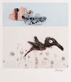 Print  Cloudy with Bird by carlasonheim on Etsy