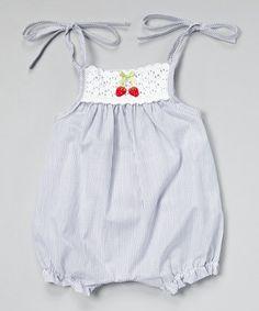 Navy Stripe Crocheted Bubble Romper - Infant