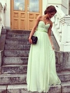 Mint Green Chiffon Sweetheart Neckline Corset Bridesmaid Dress Wedding Dress Prom Dress Floor Length With Pleats on Etsy, $109.00