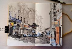 Cant get enough of Adina Tudors urban sketches on #myMoleskine.  Come see more from her and share your talent on http://ift.tt/15JC7Dr #Moleskine by moleskine_world