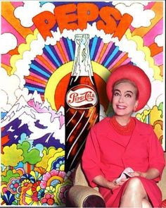 Joan Crawford in front of a Peter Max-esque Pepsi Art