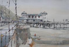 Pavilion Building Penarth Pier, Watercolours by Howard Jones Howard Jones, Watercolours, Paintings For Sale, Pavilion, Seaside, Paris Skyline, Cities, Louvre, Building