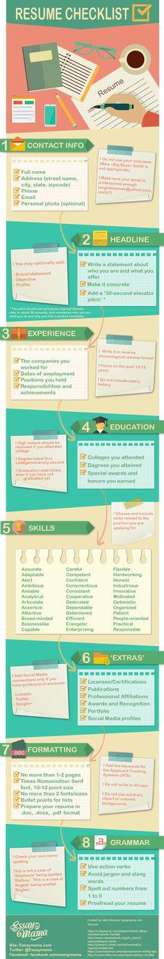 A checklist for the perfect resume / CV / Curriculum Vitae Resume Help, Job Resume, Resume Tips, Resume Ideas, Resume Review, Resume Work, Free Resume, Web Design, Resume Design