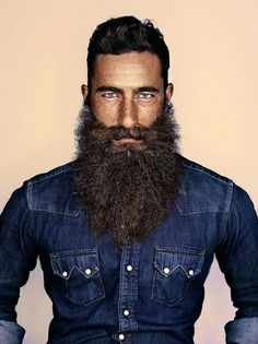 Note – this man in a denim jacket is quite possibly the manliest man that ever manned. | This Exhibition Of The World's Best Beards Features A Really Inspirational Woman