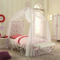 The Acme Furniture Priya II Full Bed with Canopy sets an enchanting tone in your little girl's bedroom. It's crafted of durable metal and features. Metal Canopy Bed, Canopy Bed Frame, Full Bed, Metal Beds, Canopy Beds, Girls Bedroom Sets, White Bedroom Set, Bedroom Ideas, Bedrooms