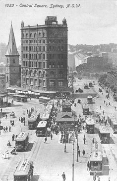 Before road space became premium property, Sydney trams luxuriated at Railway Square -- where Parramatta Road and Broadway met just near Central Station. Old Pictures, Old Photos, Cities, Central Square, Sydney City, Historical Images, Surry Hills, History Photos, Sydney Australia