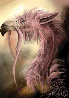 Pink fur dragon with beak and ears  Like a griffin, this dragons seems to be a merge of creatures. EDK