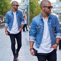 Closet Systems For Men Smart Casual Wear, Casual Wear For Men, Casual Looks, Hipster Jeans, Hipster Outfits, Denim Outfits, Mens Fashion Summer Outfits, Mens Fashion Suits, Bald Men Style