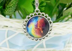 For Sale: #2 Colorful Galaxy and Planet Glass round Pendant silver plating Necklace - #2 Colorful Galaxy and Planet Glass round Pendant silver plating Necklace. New in pkg. 4.00 (cross posted)