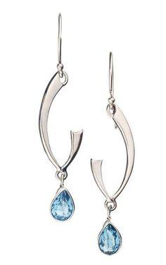 Blue topaz teardrop earrings in sterling silver.