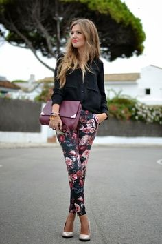 To work, try a printed trouser in a deep floral fall print.