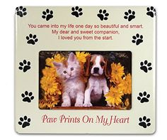 Pet Memorial Picture Frame - Paw Prints on My Heart - Pet Sympathy Gift - Pet Bereavement Gift - Pet Frame - Pet Memorial Plaque *** You can get additional details at the image link.