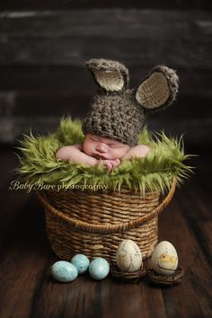 Happy Easter, Easter bunny, Baby Bare Photography