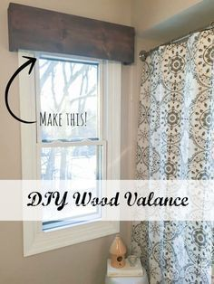 DIY Wood Valance – An Inexpensive and Easy Window Treatment! – Sypsie Designs DIY Wood Valance – An Inexpensive and Easy Window Treatment! Farmhouse Window Treatments, Bathroom Window Treatments, Valance Window Treatments, Bathroom Windows, Window Valance Box, Wood Valances For Windows, Window Blinds, Curtains For Bathroom Window, Bay Window