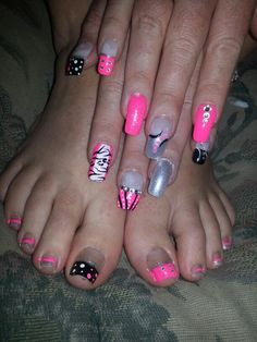 Zebra cheetah pink silver black white rhinestone french tip