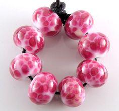 Cherry Ice Cream Handmade Lampwork Glass Round Beads by ahouston, $24.00