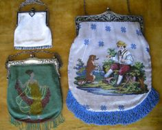 Art Deco beaded, 1920's beaded figural and c.1850 beaded boy with his dog purse. From the collection of Lori Blaser