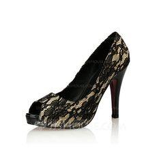 [33.97 €] Femmes Similicuir Dentelle Talon stiletto Escarpins avec Dentelle chaussures