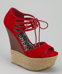 Take a look at this Red Hotstuff Sandal by Dollhouse on #zulily today! 24.99