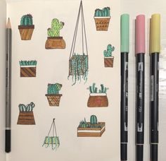 Practice drawing cacti and succulents, adding a pop of colour to your page with a display of vivid greens. Drawing Pin, Drawing Practice, Cactus Doodle, Types Of Patterns, Stick Man, Color Pop, Colour, Diy Letters, Gcse Art