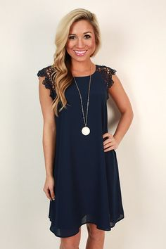 Love the lace at the top because it breaks up the solid navy color. Super cute for day or for night.