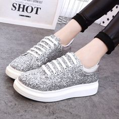 Silver Round Toe Flat Sequin Casual Ankle Shoes
