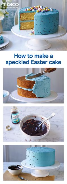 Go all out this Easter and celebrate with a showstopping speckled egg Easter cake. Zesty lemon sponges are sandwiched with bright buttercream and decorated with splashes of cocoa for a supersize mini-egg inspired treat. Baking Tins, Baking Recipes, Cake Recipes, Dessert Recipes, Desserts, Iced Sponge Cake, Cupcakes, Easter Egg Cake, Mini Eggs Cake