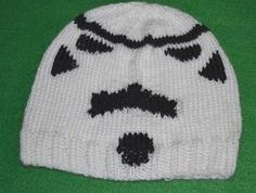 This hat with the funky face looks to me a bit like a Mexican wrestler's face mask inspired by a Stormtrooper. Beanie Knitting Patterns Free, Knitting Blogs, Free Knitting, Knitting Projects, Knitting Ideas, Learn To Crochet, Knit Crochet, Crochet Hats, Diy Mask