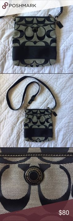 Authentic Coach cross body purse Excellent used condition. The strap is I perfect condition, no scuffs or marks on the bag or the strap. Has two side pockets and a zip compartment in the middle. Used about 10 times Coach Bags Crossbody Bags