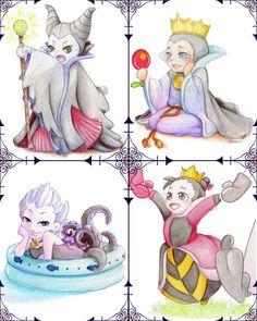 Maleficent, Evil Queen, Ursula & Queen Of Hearts