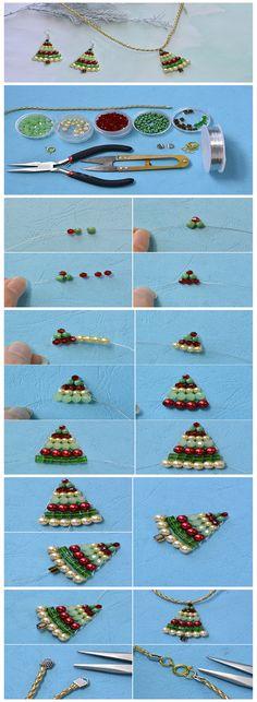 juego de perlas de árbol navideño #Navidad Diy Christmas Earrings, Beaded Christmas Decorations, Beaded Ornaments, Christmas Jewelry, Christmas Crafts, Beaded Jewelry Patterns, Beading Patterns, Shreddies, Button Crafts