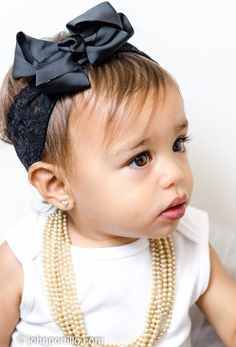 Black bow baby headband and pearls with black tutu