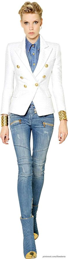 White jacket Denim shirt are a mustmust... From the waist down is blah don't like the astronaut boots