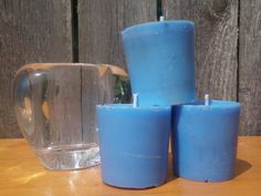 blue candle handpoured candles vanilla scented by CrochetByMel, $9.50
