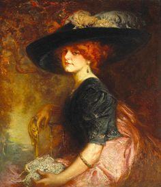 A Seated Lady Wearing A Feathered Hat