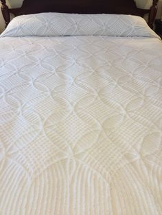WH Mint Green Vintage Chenille Bedspread Waterfall Sides 94x96