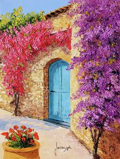 Mediterranean – Original Acrylic Painting on Canvas, in/, unframed , Colorful Artwork Acrylic Painting Canvas, Acrylic Art, Canvas Art, Painting Clouds, Watercolor Art Paintings, Oil On Canvas, Colorful Artwork, Beginner Painting, Bougainvillea