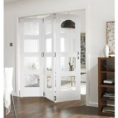 Interior Mdf Panel Folding Door With Frosted Glass Panels