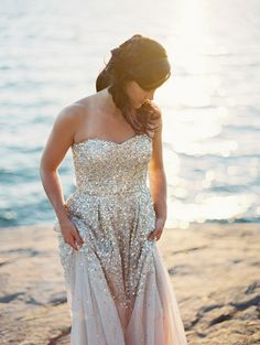glistening gold sequin wedding dress from BHLDN.   http://www.weddingchicks.com/2013/12/09/glacier-national-park-wedding/