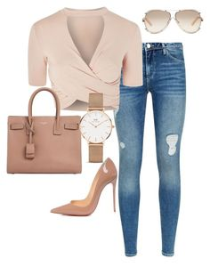 """Untitled #58"" by jsmalves on Polyvore featuring Armani Jeans, Topshop, Christian Louboutin, Yves Saint Laurent, Daniel Wellington and Chloé"