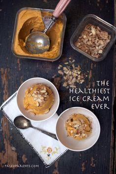 """Slightly Sweet & Salty Frozen Custard also known as """"Healthiest Ice Cream EVER"""" Ingredients for Frozen Custard 1 medium butternut squash (wi. Paleo Dessert, Healthy Sweets, Dessert Recipes, Healthy Eating, Vegan Desserts, Clean Eating, Paleo Ice Cream, Ice Cream Recipes, Sugar Detox Recipes"""