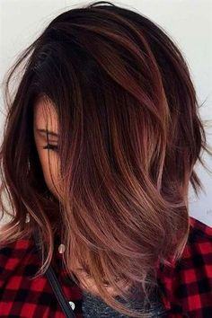 Black Coffee Hair With Ombre Highlights - 10 Cool Ideas of Coffee Brown Hair Color - The Trending Hairstyle Ombre Hair Color For Brunettes, Hair Color Balayage, Brown Hair Colors, Hair Highlights, Brunette Color, Dark Brown Hair With Highlights And Lowlights, Purple Highlights, Fall Hair Colors, Brown Blonde Hair