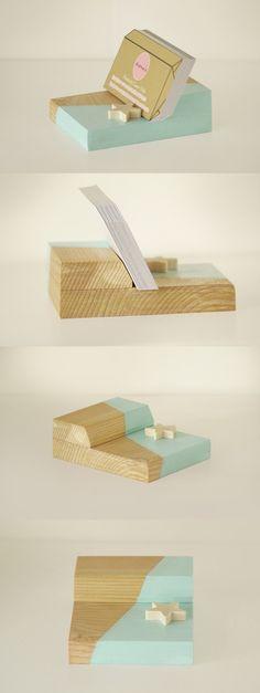 Mint Wooden Business Card Holder // Handmade Cute Desk Accessories!