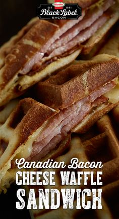 Canadian Bacon and Cheese Waffle Sandwiches Bacon Recipes, Brunch Recipes, Breakfast Recipes, Cooking Recipes, Breakfast Waffles, What's For Breakfast, Pancakes, Sandwiches, Canadian Bacon