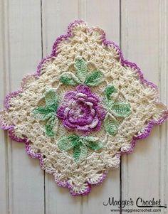 Flower embellished vintage crochet potholder