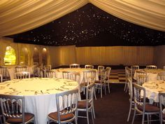 Black starlight | silver chairs - #marqueehireuk #marqueehire #Notts #Derby #Leicester #weddings #corporate #events