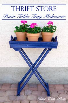 Thrift Store Patio Table Tray Makeover ~ It is easy to capture this gorgeous deep blue colour with a fresh coat of paint on a thrift store table… Patio Table, Diy Patio, Table Tray, Chandelier Planter, Old Chandelier, Painted Furniture, Flip Furniture, Porch Furniture, Colorful Furniture