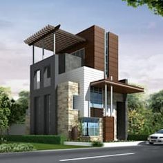 Bungalows by finch architects | homify Building Elevation, House Elevation, Front Elevation, Bungalow House Design, House Front Design, Gate Wall Design, Bungalows, Exterior Design, Modern Architecture